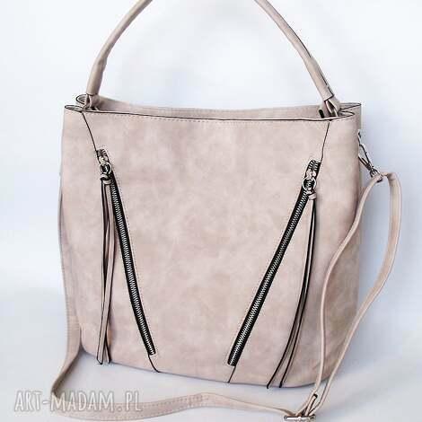 na ramię duża torba z kieszeniami - beżowa, torba, torebka