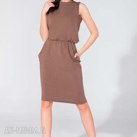 sukienka midi z kieszeniami t132 brązowy - sukienka, midi, letnia, kieszenie