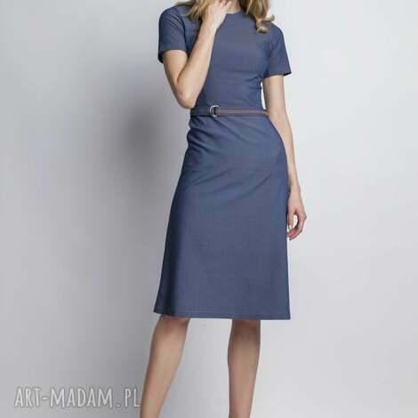 sukienka, suk127 jeans, prosta, romantyczna, taliowana, dłuższa, pasek