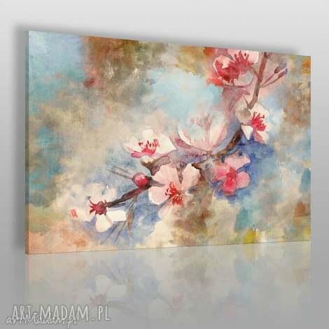 obraz na płótnie - kwiat wiśnia delikatny 120x80 cm 50801 , kwiat, wiśnia, gałąź