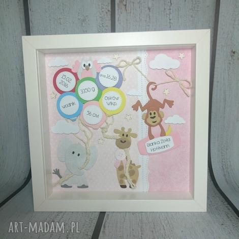 metryczka zoo dla dziewczynki - narodziny, urodziny, metryczka, prezent, dziewczynka