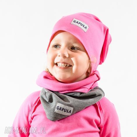 jesienna czapa smerfetka- różowa - bawełna, handmade, surowa, czapa, metka