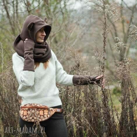 ciepłe mitenki - brązowe - brązowe, rękawiczki, mitenki, opatulacz, dres