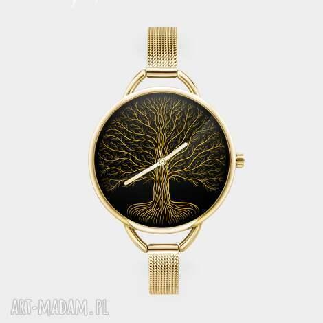 zegarek z grafiką złote drzewo, życie, korzenie, prezent, dla, niej, konary zegarki