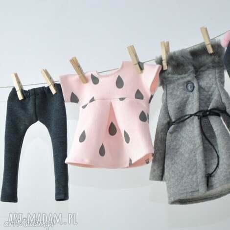 zestaw szary płaszczyk, ubranka, lalki, legginsy, czapka dla dziecka