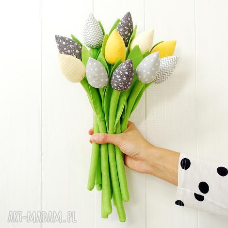 tulipany - bawełniane kwiaty - tulipany, bawełniane, szyte, kwiaty, kwiatki