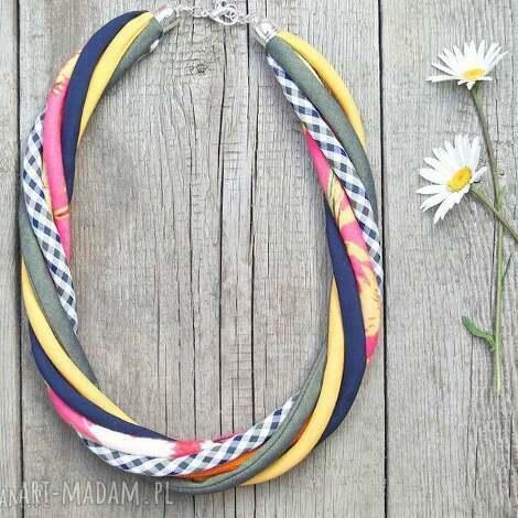 kolorowy naszyjnik tekstylny - pracownia zolla rękodzieło - eco, kolorowy