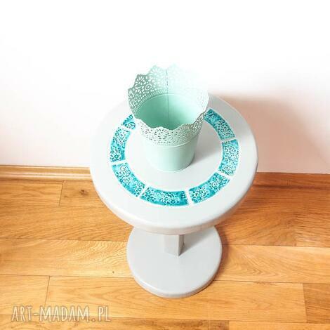 stolik kwietnik szary z turkusową ceramiką, stolik, kwietnik, ceramika