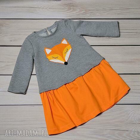 ubranka sukienka lisek rozmiar 110 i 92, lis, jesień, dla dziecka
