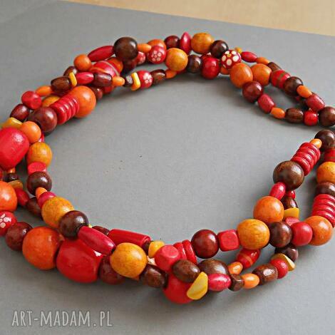 czerwona pomarańcza - drewno, drewniany, naszyjnik, naturalny