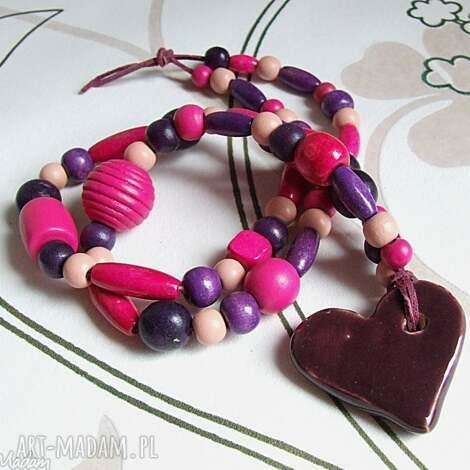 sercowy - naszyjnik, korale, drewniane