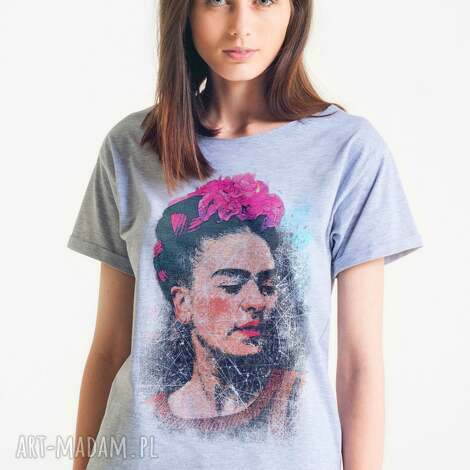 bluzki frida - koszulka damska oversize szarat-shirt, oversize, koszulka, tshirt