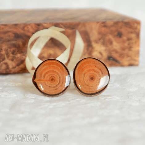 spinki mankietowe z drewna - naturalne - drewno, drewniany, las, natura, męskie