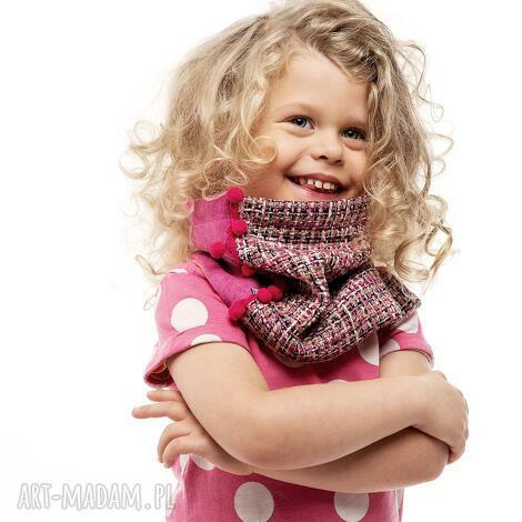 ciepły wygodny dzianinowy komin szalik pink tweed - pompony, fuksja, tweed, wełna