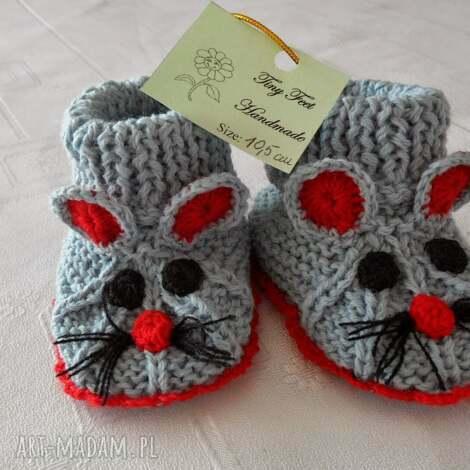 buciki dziecięce - myszki szaro-czerwone, buciki, kapciuszki, niemowlęce