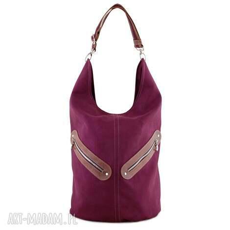 na ramię kofi -duża torba worek - bordowa, worek, pojemna, duża, niebanalna, prezent