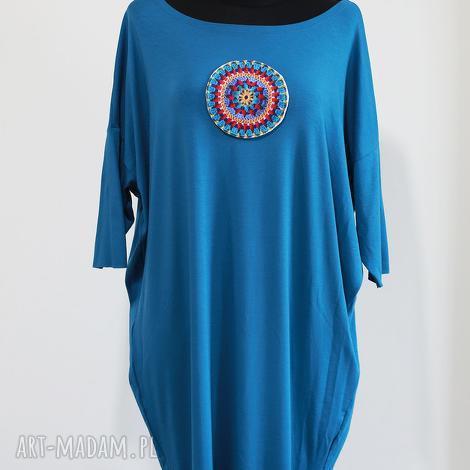 sukienki iron blue-sukienka kimono, blekitna, jeasnowa, bawełniana, midi