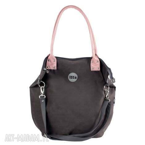 torba worek mysza grafit powder pink, mysza, szara, prezent, manamana, handmade