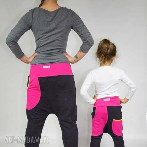 spodnie duet - mama i dziecko czekolad róż , dresowe, wygodne, baggy
