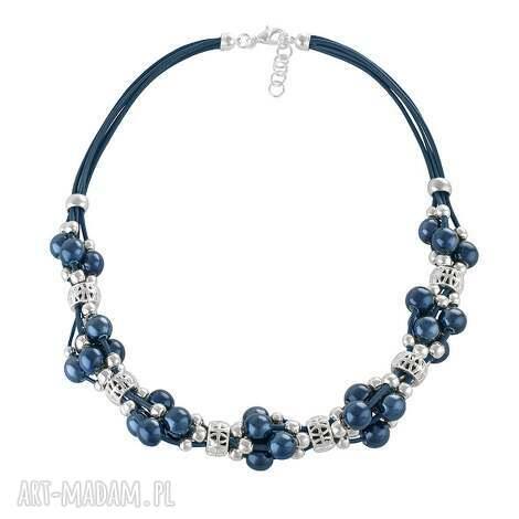 grapes - navy blue - ceramika, rzemień
