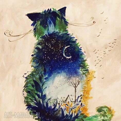 obrazy akryl na płótnie, obraz kot nocny , obraz, akryl, płótno, kot, ptaki, noc
