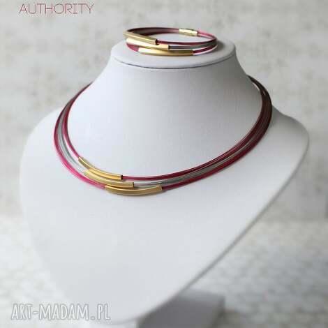 komplet authority , złoty, malinowy, nowoczesny, elegancki, komplet, prezent