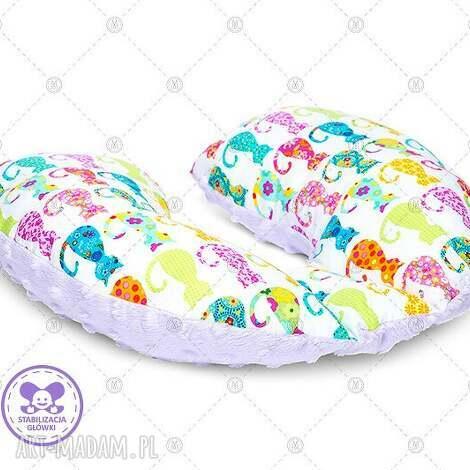 dla dziecka poduszka podróżna minky rogal zagłówek do fotelika rogalik - kolorowe