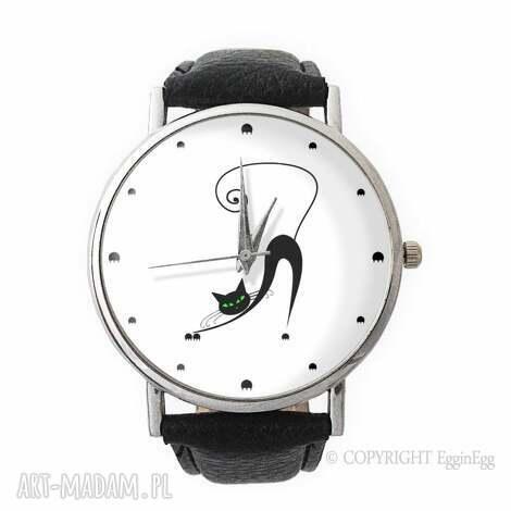 zegarki zakręcony kot - skórzany zegarek z dużą tarczą, skórzany, zegarek