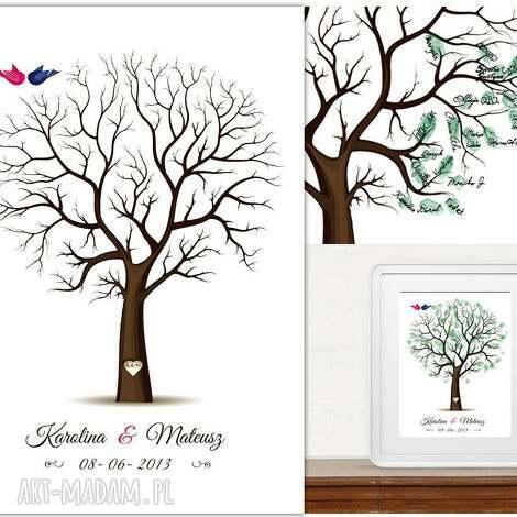 drzewo wpisów gości weselnych 50x70 cm i 3 tusze , ślub, wesele, księga