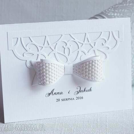 subtelne zaproszenia ślubne z kokardą, zaproszenie, kokarda, eleganckie, ślub