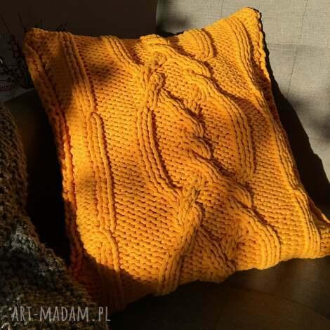 poduszki poduszka dziergana plecionka warkoczowa, poduszka, vintage, recznierobione