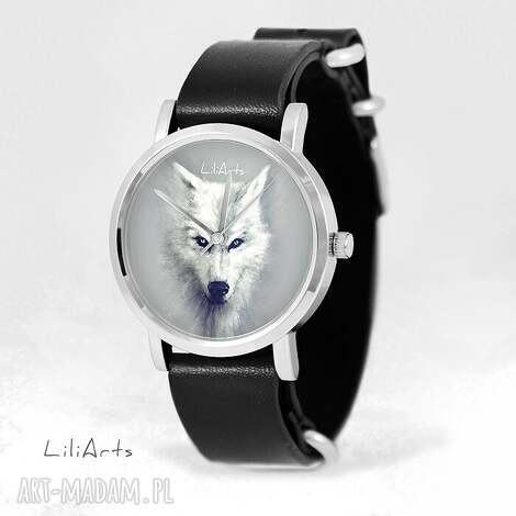 zegarek, bransoletka - biały wilk czarny, skórzany, nato