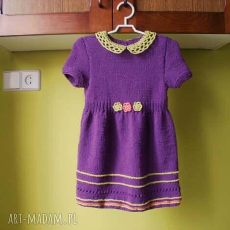 ubranka komplet fioletowy, rękodzieło, komplet, sukienka, sweterek, włóczka dla
