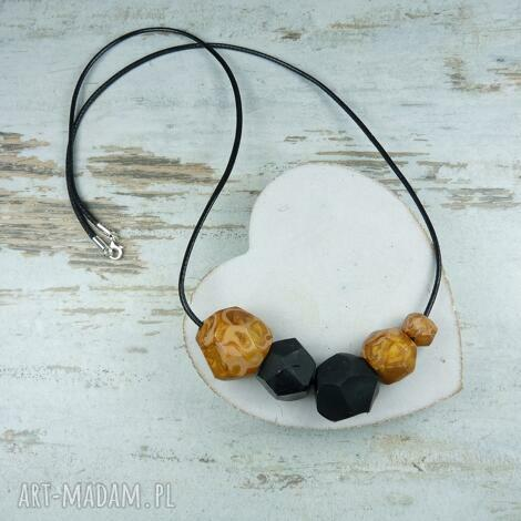 geometryczne korale - czarno złote - korale, naszyjnik, geometryczne, nowoczesne, fimo
