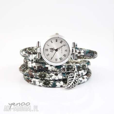 zegarek, bransoletka - szare kwiaty owijany, bransoletka, kwiaty, rzemień