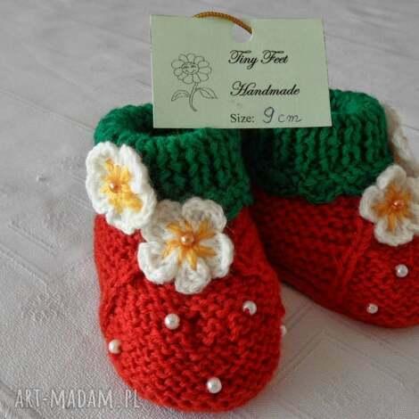 buciki niemowlęce - truskaweczki, buciki, kapciuszki, dziecięce dla dziecka