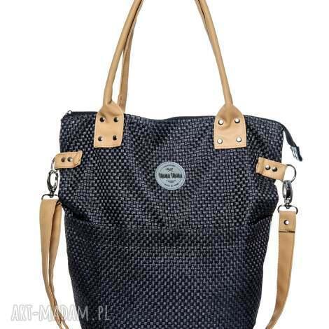 na ramię torba damska plecionka black camel, czarna, wytrzymała, pleciona torebki