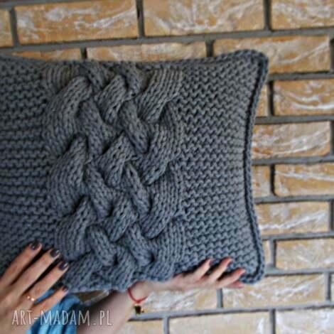 poduszka splatana inaczej, poduszka, sznurekbawełniany, druty, szary, grey poduszki