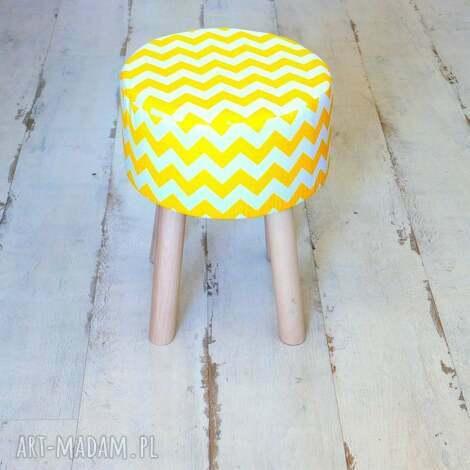 stołek fjerne m żółte zygzaki , puf, taboret, stołek, drewno, bawełna dom