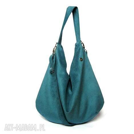 aquamarine hobo, worek, morska, handmade, dekoracyjna, aksamitna, unikalny