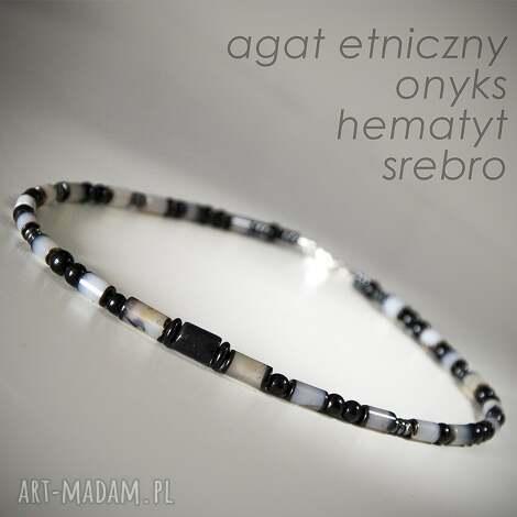naszyjnik męski etniczny, onyks, agat, srebro, biżuteria