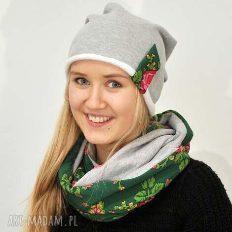 czapki czapka dresowa, szara z zieloną folkową wstawką, czapka, folk, dres, etno