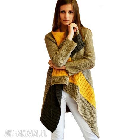 swetry sweter w asymetryczne pasy, sweter, kardigan, dzianina, unikalny prezent