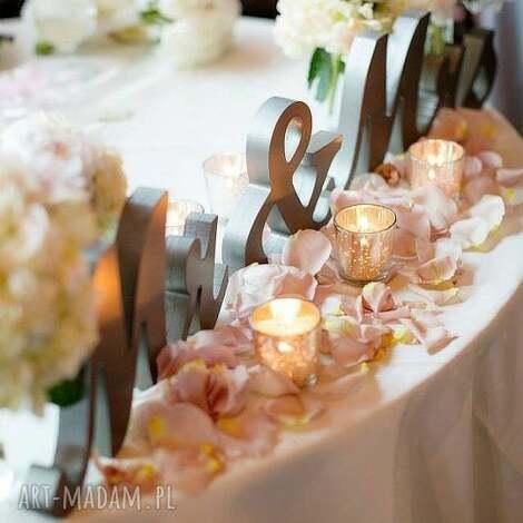 dekor dekoracja ślubna mr mrs 20cm białe, dekoracje, napis, mrandmrs, inicjały
