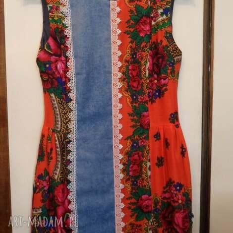 folk design sukienka- pomarańcz, sukienka, folk, design, góralska, jeans ubrania