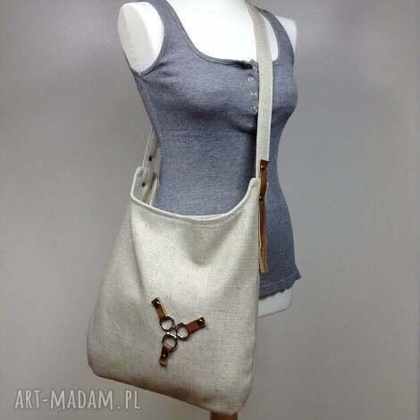 torba na ramię listonoszka , torba, listonoszka, torebka, sak, len, beż torebki