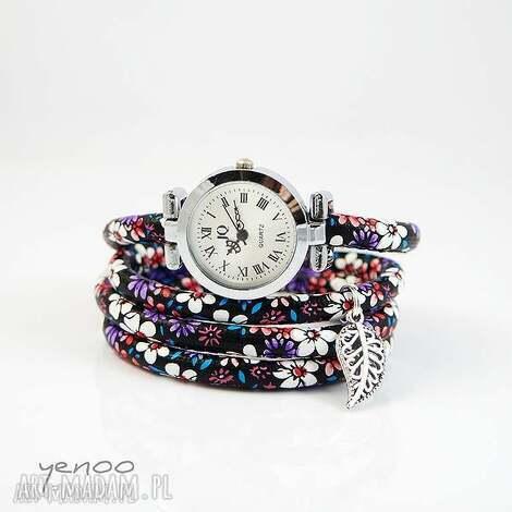 zegarki zegarek, bransoletka - fioletowe kwiaty owijany