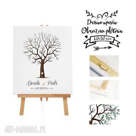 piękny obraz na płótnie - drzewo wpisów 40x50 cm, księga, gości, obraz