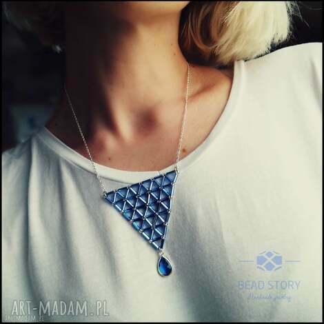 naszyjnik geometryczny z błękitną kroplą - wisior, geometria, szkło
