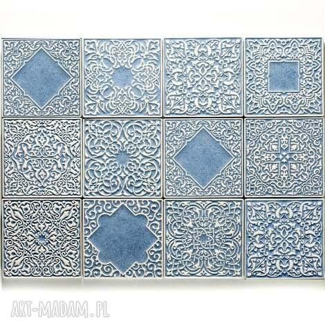 kafle jasnoniebieskie, 12 sztuk, kafle, dekory, płytki, ścienne, marokańskie
